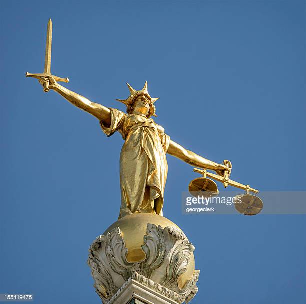 statue of lady justice - high up stock photos and pictures