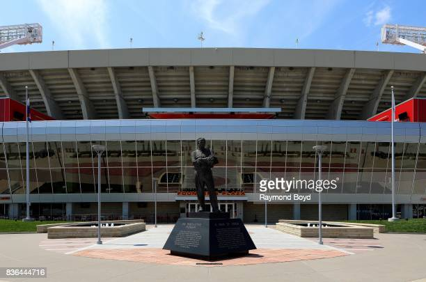 A statue of Lamar Hunt founder and owner of the Kansas City Chiefs and principal founder of the American Football League stands outside Arrowhead...