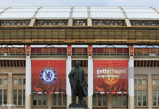 A statue of Lenin looks over the approach to the stadium ahead of the Champions League Final at the Luzhniki Stadium on May 20 2008 in Moscow Russia...