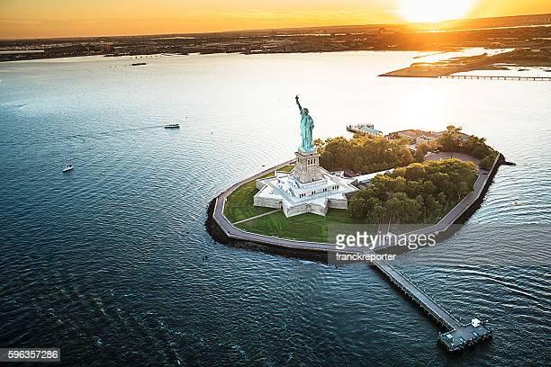 Vue aérienne de la statue de la Liberté