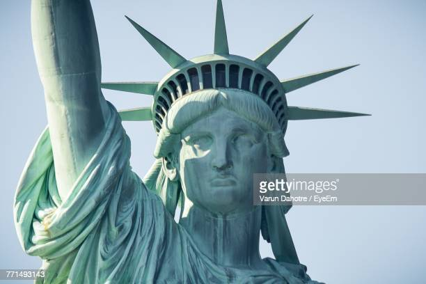 statue of liberty against clear sky - statue stock pictures, royalty-free photos & images