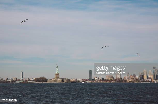 statue of liberty and city by upper bay against sky - bortes stockfoto's en -beelden