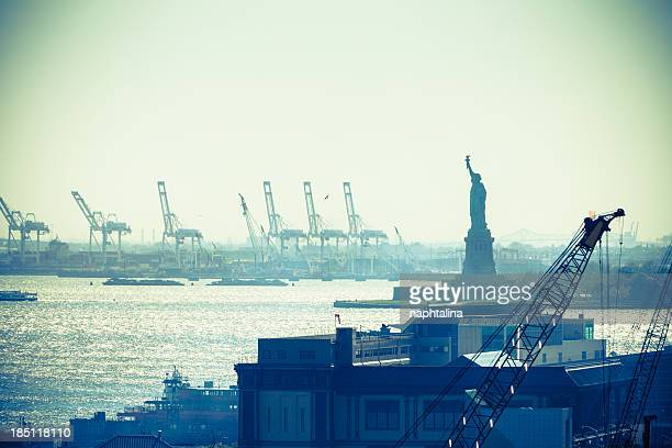 Statue of liberty and New York City port