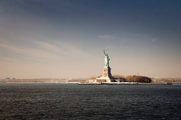 Statue Of Liberty At Sunset, View From The Boat Wall Art