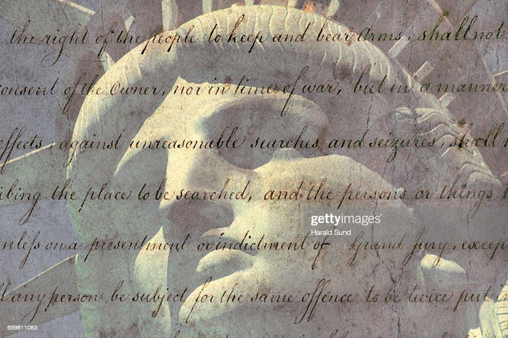 Statue of Liberty, Bill of Rights, 2nd Amendment. : Stock Photo