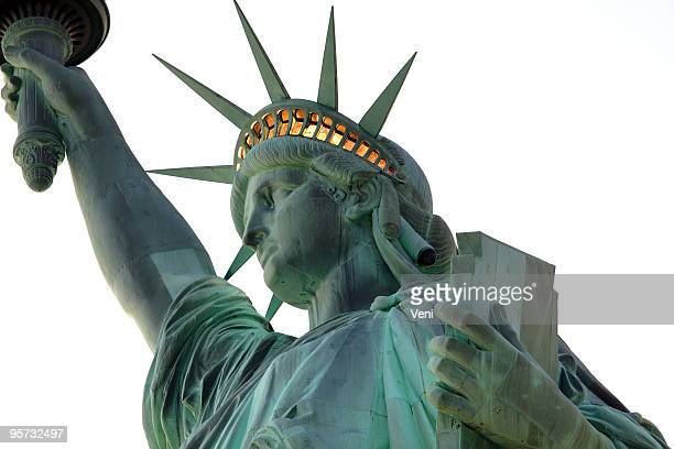 statue of liberty - close up - crown close up stock pictures, royalty-free photos & images