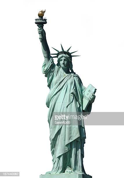 statue of liberty on white - statue of liberty stock pictures, royalty-free photos & images