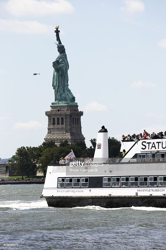 Statue Of Liberty With Ferryboat Stock Photo Getty Images