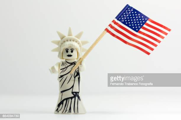 Statue of Liberty with the flag of the United States