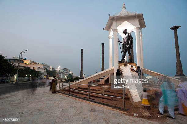 PONDICHERRY PUDUCHERRY INDIA A statue of Mahatma Gandhi at the waterfront promenade in the former French colony of Pondicherry India