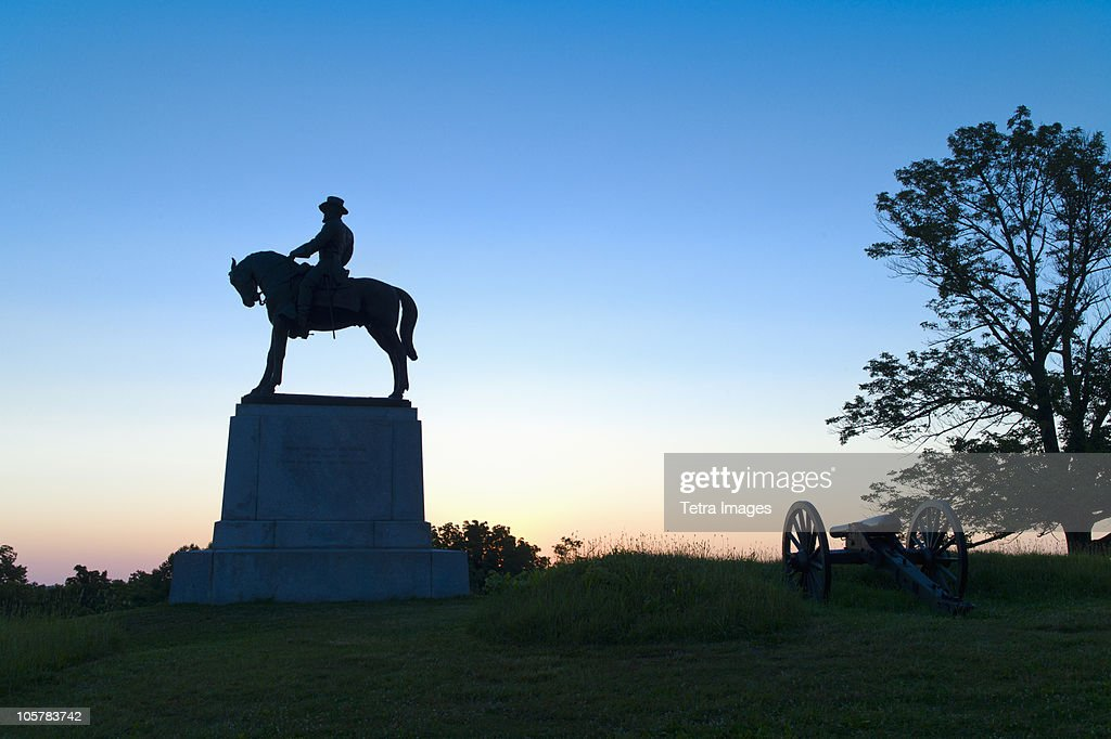 Statue of major general Oliver Howard on east cemetery hill : Stock Photo