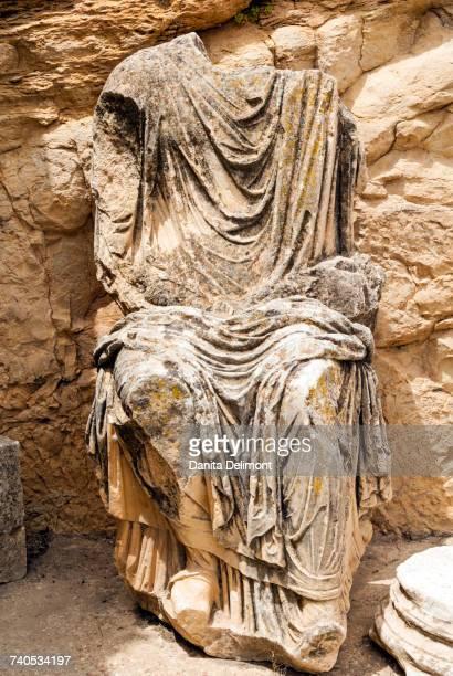 Statue of Marcus Aurelius, Roman ruins, Dougga Archaeological Site, UNESCO World Heritage Site, Tunisia