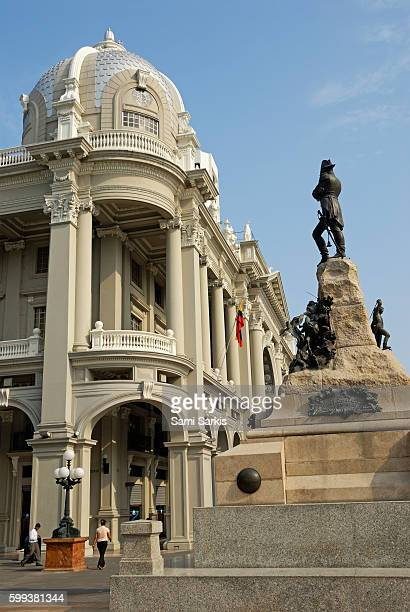 Statue of Mariscal Sucre in front of the City Hall building, Guayaquil, Ecuador, South America