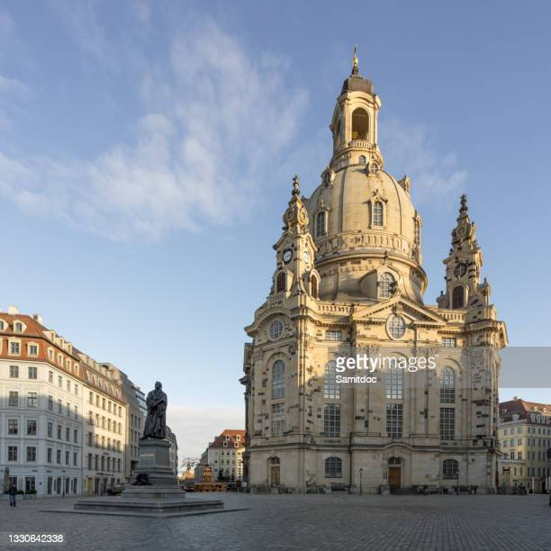 statue of martin luther in front of the frauenkirche in dresden, germany - third place stock pictures, royalty-free photos & images