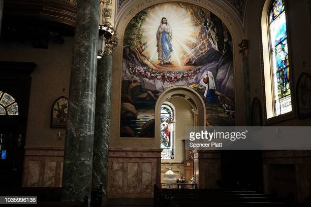 A statue of Mary of Nazareth is displayed outside of St Lucy'sSt Patrick's Church in Brooklyn on September 19 2018 in New York City In a further blow...