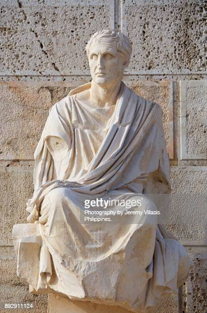 statue of menander, theatre of dionysus, the acropolis - ancient greece photos stock pictures, royalty-free photos & images