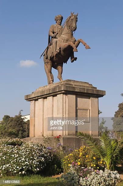 statue of menelik ii on horse. - menelik ii stock photos and pictures
