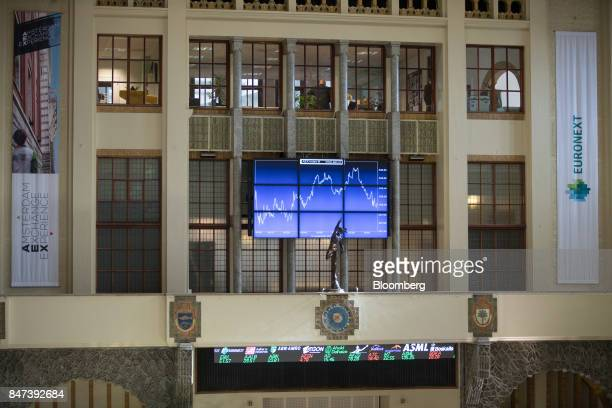 A statue of Mercurius stands in front of the AEX Index curve inside the Amsterdam Stock Exchange operated by Euronext NV in Amsterdam Netherlands on...