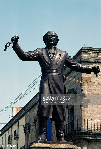 Statue of Miguel Hidalgo y Costilla breaking the chains of slavery Liberation square Guadalajara Jalisco State Mexico