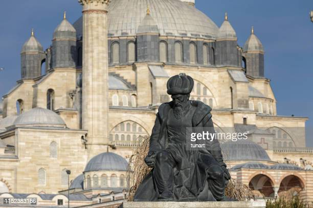 statue of mimar sinan infront of selimiye mosque, edirne, turkey - selimiye mosque stock pictures, royalty-free photos & images