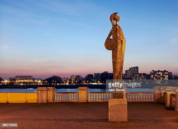 Statue of Minerva next to river