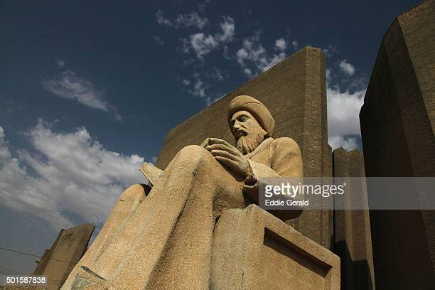 Statue of Mubarak Ben Ahmed Sharaf-Aldin (1169-1239), known as Ibn Almustawfi, a historian and minister of Erbil at the old Qalaa citadel a UNESCO World Heritage Site in the city of Erbil or Arbil Northern Iraq