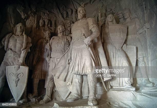 Statue of national hero Skanderbeg and his people Kruje Albania Kruje Skanderbeg museum