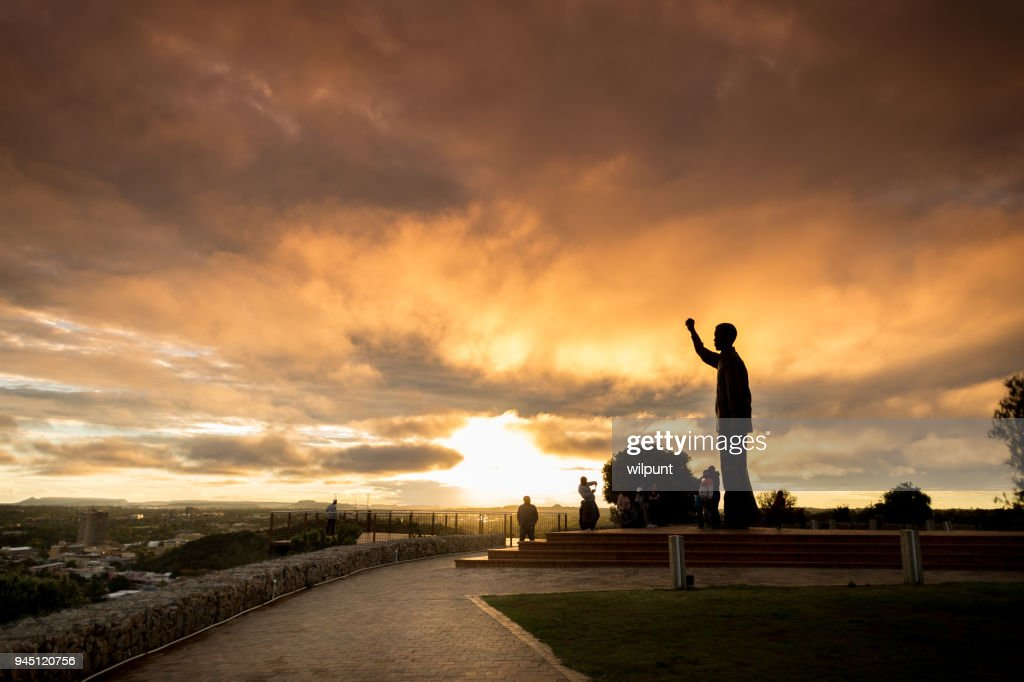 Statue of Nelson Mandela Silhouette Sunset : Stock Photo