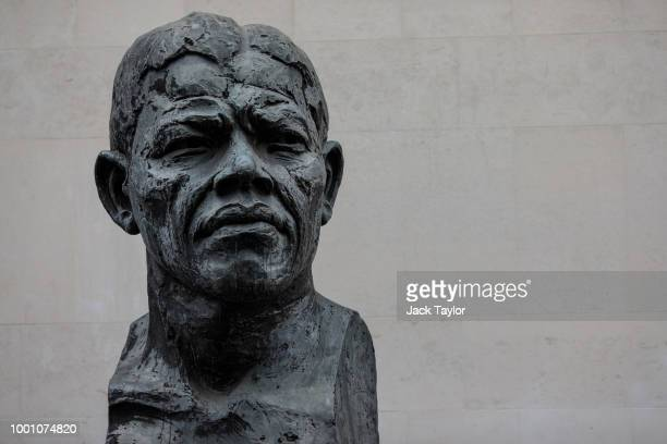 A statue of Nelson Mandela stands outside the Royal Festival Hall on July 18 2018 in London England Today marks 100 years since the birth of the late...