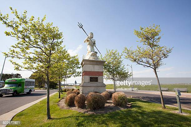statue of neptune holding spear in atlantic city, new jersey - neptune roman god stock pictures, royalty-free photos & images