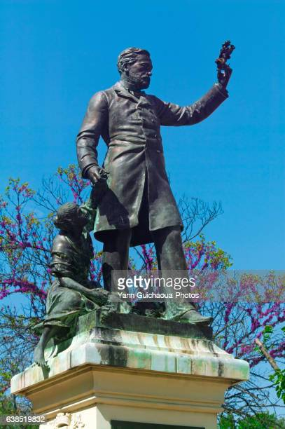 statue of pasteur, ales, cevennes, gard, france - ガール県 ストックフォトと画像