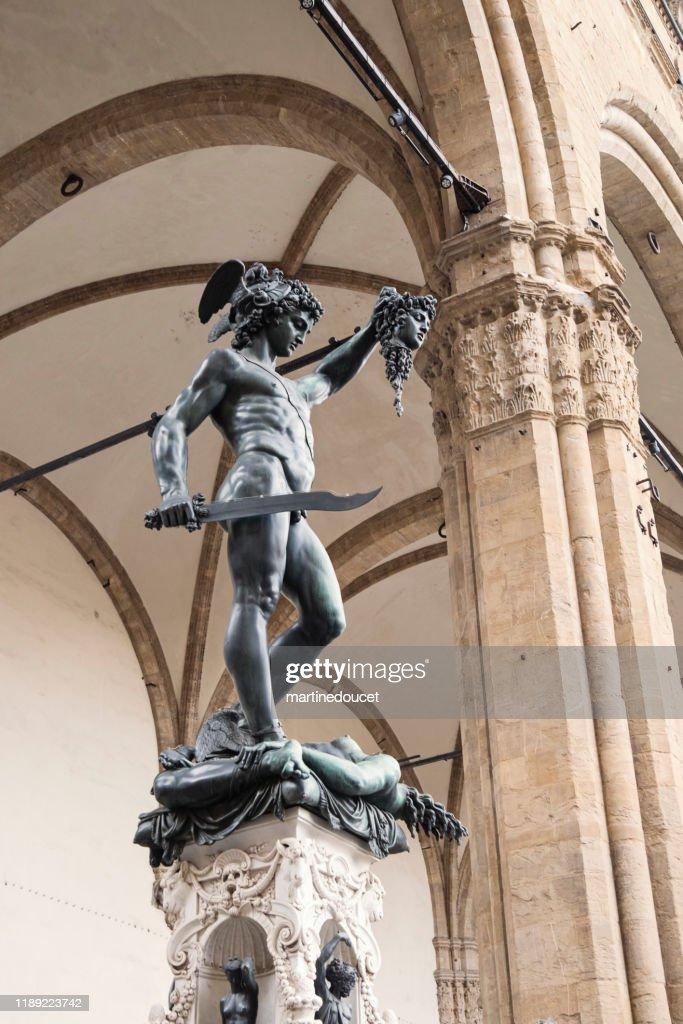 Statue of Perseo in Loggia dei Lanzi, Florence Italy : Stock Photo