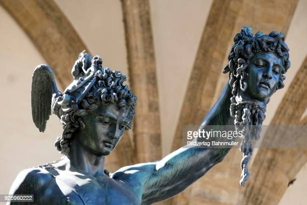 statue of perseus with the head of medusa, piazza della signoria, florence, tuscany, italy - greek mythology stock pictures, royalty-free photos & images