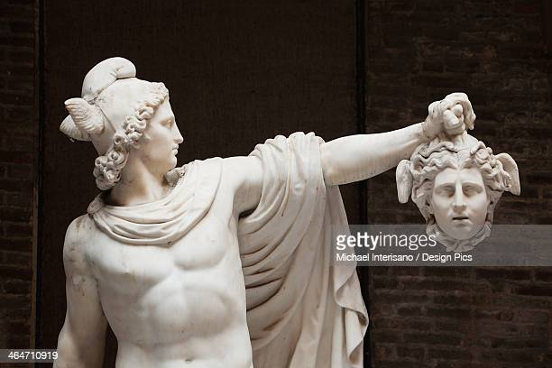 statue of perseus with the head of medusa - medusa stock photos and pictures