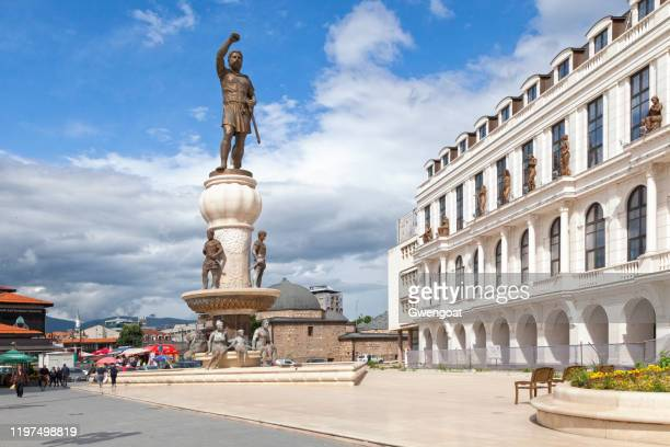 statue of philip ii of macedonia in skopje - gwengoat stock pictures, royalty-free photos & images