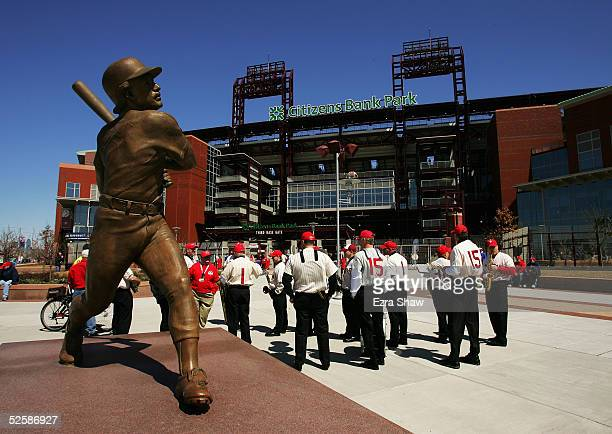 A statue of Phillies great Mike Schmidt outside the stadium before the Philadelphia Phillies game against the Washington Nationals at Citizens Bank...