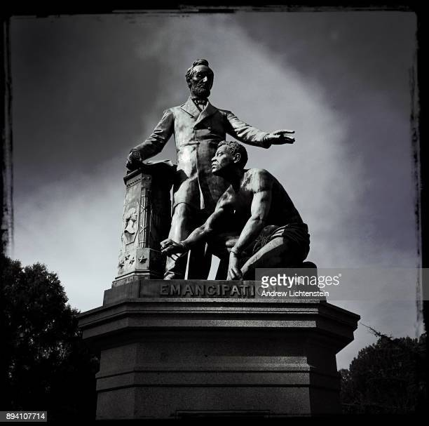 A statue of President Lincoln sits in the middle of Lincoln Park on November 30 2017 in the Capital Hill neighborhood of Washington DC The statue...
