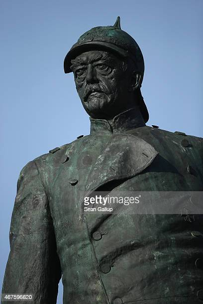A statue of Prussian statesman Otto von Bismarck stands in Tiergarten park on March 23 2015 in Berlin Germany Germany will commemorate the April 1st...