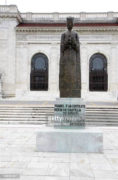 A statue of Queen Isabella sits outside the Organization of American States in Washington DC on MAY 13 2012