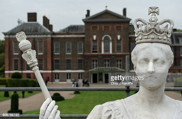 A statue of Queen Victoria during restoration work at Kensington Palace on September 19 2016 in London England Unveiled outside her childhood home by...