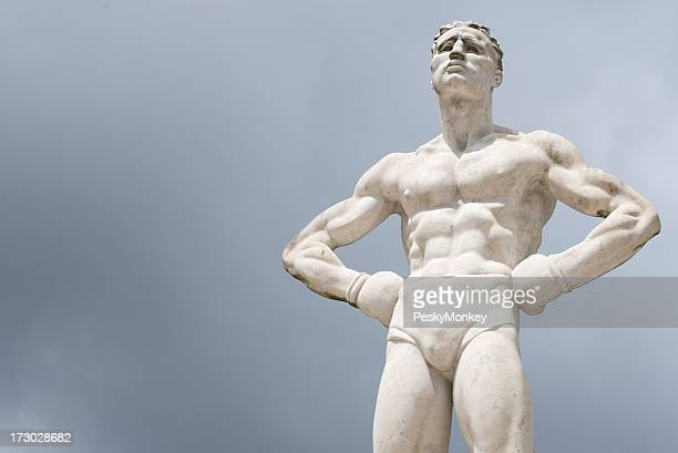 Statue of Ripped Boxer Stands w Hands on Hips