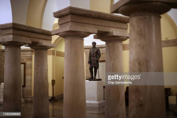 Statue of Robert E. Lee, commander of the Confederate States Army during the Civil War, is on display in the Crypt of the U.S. Capitol June 18, 2020...