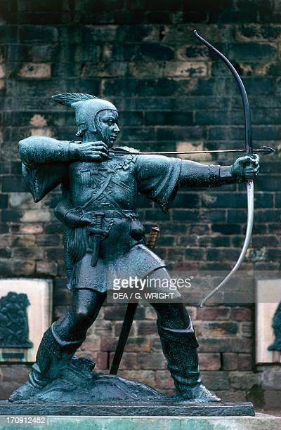 Statue of Robin Hood Nottingham castle Sherwood Forest England United Kingdom