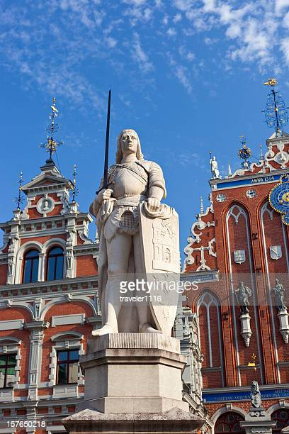 statue of roland in riga, latvia - house of blackheads stock photos and pictures