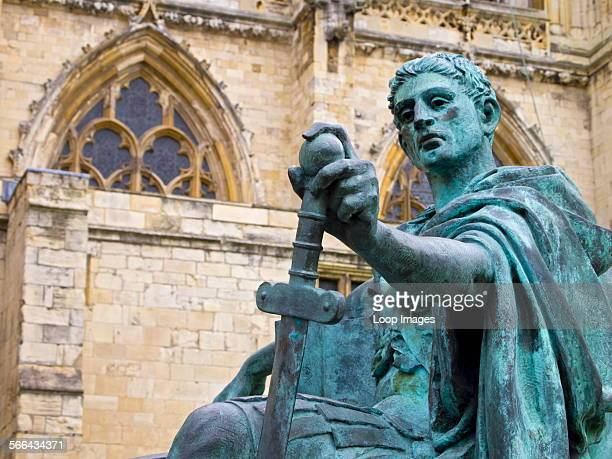 Statue of Roman Emperor Constantine the Great near the main entrance to York Minster.