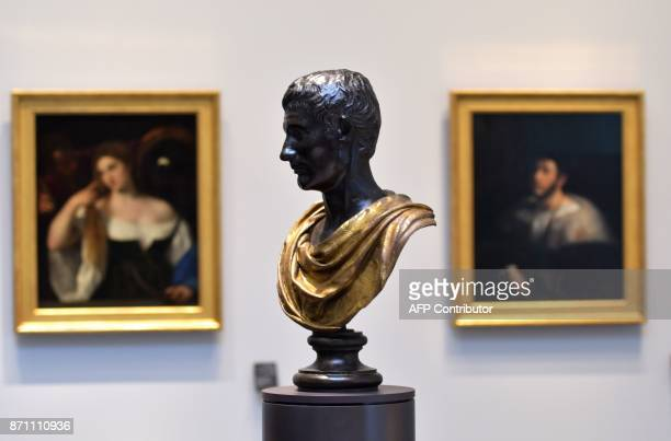 Statue of Roman general and statesman Julius Casear is seen on display at the Louvre Abu Dhabi Museum during a media tour on November 6 prior to the...