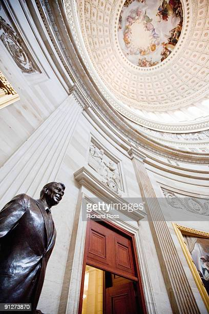 a statue of ronald reagan and the rotunda - united states capitol rotunda stock pictures, royalty-free photos & images