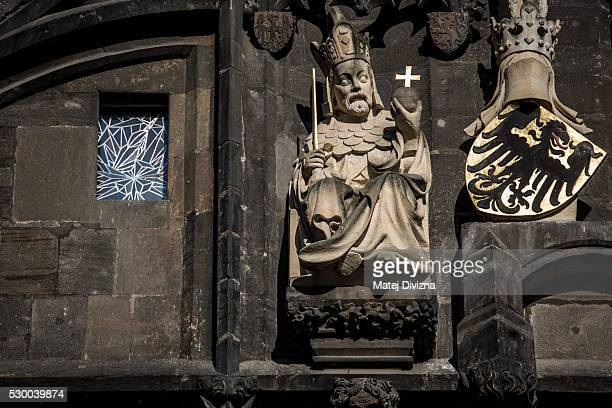 A statue of ruler Charles IV is placed on the Old Town Bridge Tower next to the Charles Bridge on May 9 2016 in Prague Czech RepublicThe Charles...