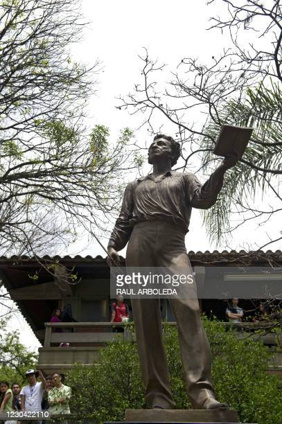 Statue of Russian poet Alexander Pushkin is seen during a ceremony in Medellin, Antioquia department, Colombia, on March 28, 2012. The monument,...