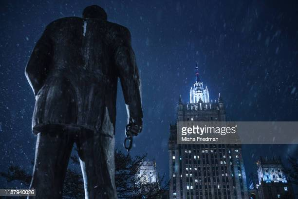A statue of Russian politician Yevgeny Primakov the country's former Intelligence Chief Foreign Minister and Prime Minister in Smolenskaya Square by...